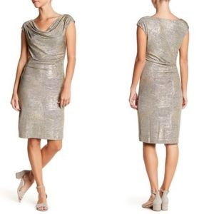 NWT Vince Camuto Metallic Cowl Neck Dress